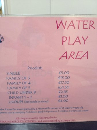 Portrush, UK : Pool price list