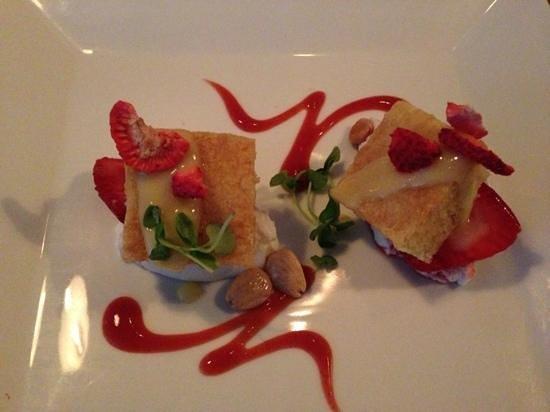 Cava: almond pound cake and strawberries