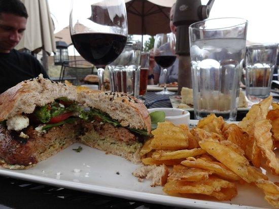 Taverna Tagaris: My lamb/sausage burger and fries