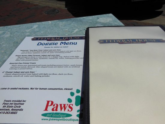 The Federal House Bar & Grille : Doggie Menu