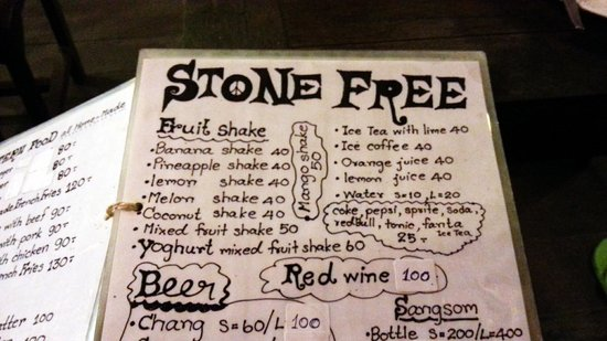 Stone Free: Menu