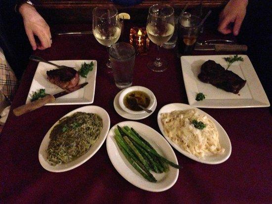 Supano's Steakhouse: The Spread:  Fillet, Strip, Pesto, Alfredo, Asparagus