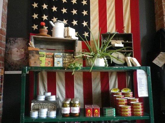 Astro Coffee Shop: I call this the Patriots coffee shelf... or just coffee shelf
