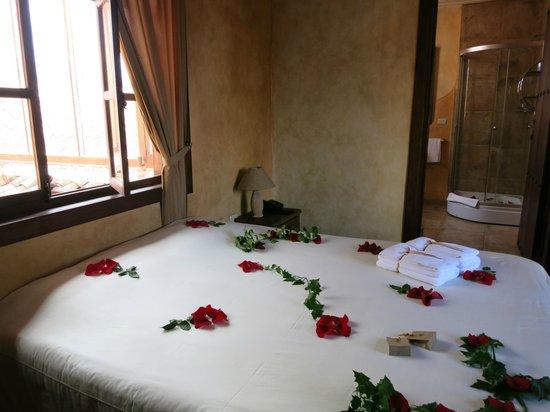 Hotel Casa del Aguila: Rose petals on bed