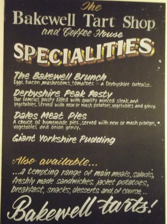 The Bakewell Tart Shop & Coffee House: Specials Board