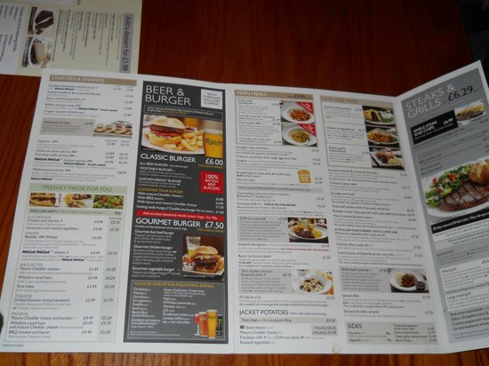Wetherspoon's: il menù aperto