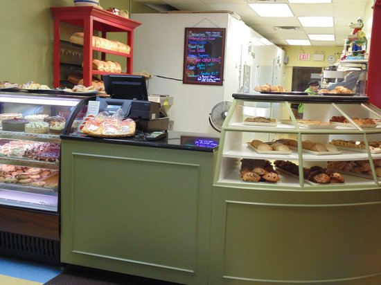 Panache Bakery: Some of our baked goods in our custom built display cabinet.