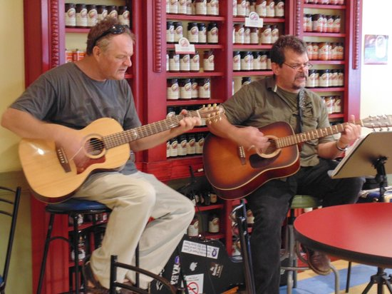 Panache Bakery& Cafe : Kevin Head & Norbert Lepage entertain customers on a Saturday afternoon in front of our