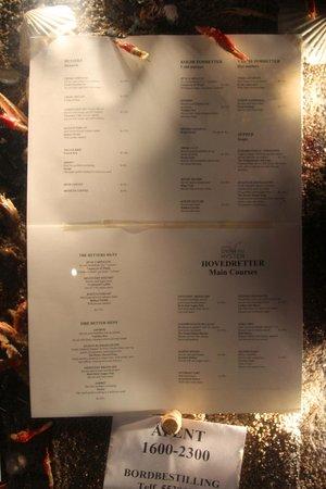 Enhjorningen : menu