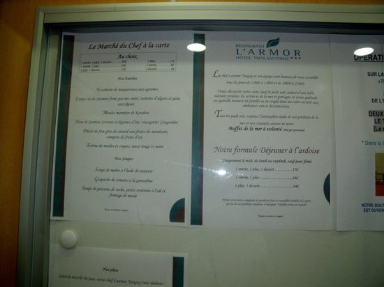 Hotel Thalasstonic de Roscoff: une partie du menu qui semble alléchant!
