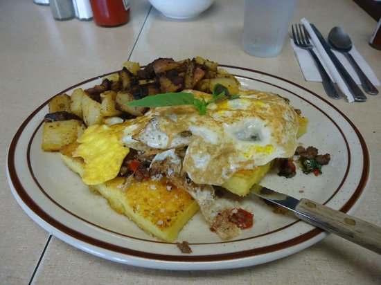 Polenta, Chorizo, Eggs - Modern Diner, Aug 2013