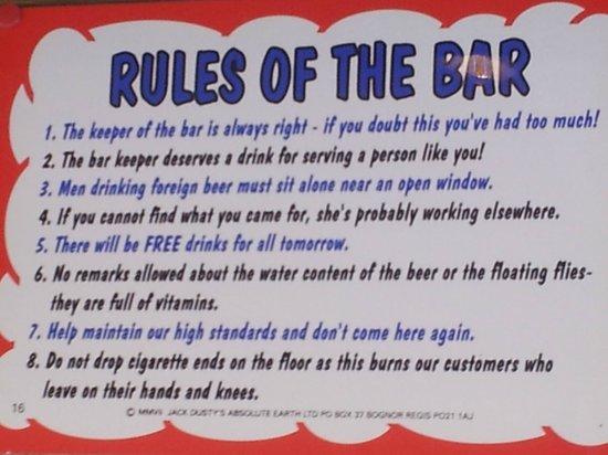 Funny bar rules! - Picture of Hotel Telesilla, Kontokali
