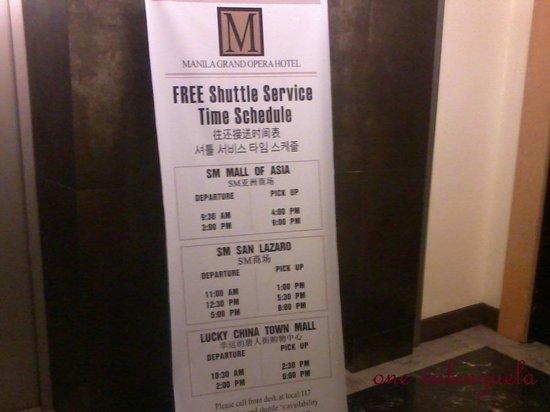 Manila Grand Opera Hotel : Shuttle service