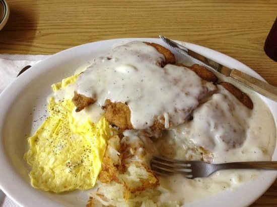 10 - 4 Cafe: Chicken Fried Chicken and hashbrowns and eggs