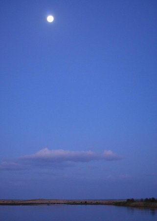 St Lucia Ski Boat Club : The moon above St Lucia estuary and beach