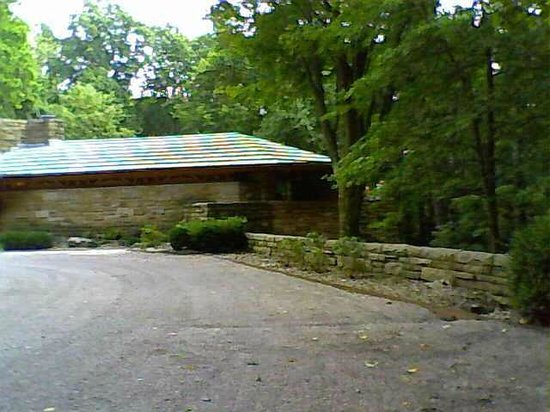 """Kentuck Knob: The courtyard as you enter and the """"bow""""."""