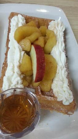 Olde Fashion Waffle with warm cinnamon apples and whipped cream - The Belgian Cafe