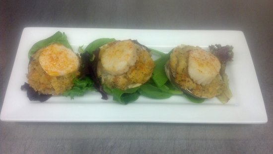 Carmen's: stuffed clams with scallop appetizer