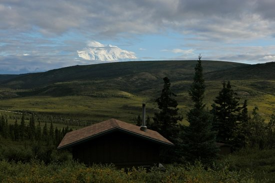 A Camp Denali cabin with view of McKinley