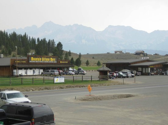 Mountain Village Resort: View from lodge:  Store with Sawtooth Mountains in background