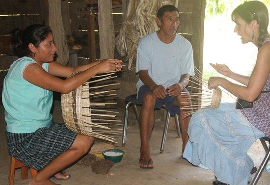 Living Maya Experience: Juan and Marta help Cheryl