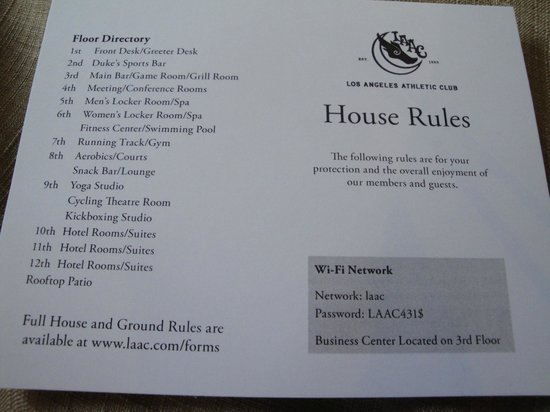 House rules for the club! picture of the los angeles athletic club