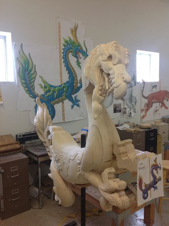 The Historic Carousel and Museum : A dragon being carved