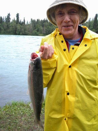 Redfish Lodge: Grandma with Dolly Varden at Redfish private shore on the Kenai River