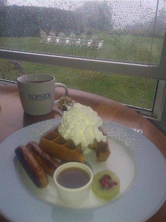Topside Inn: Ed's sweet potato waffles make even a rainy morning sunny!