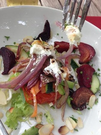 The Angel Inn: Goats cheese and beetroot salad starter portion