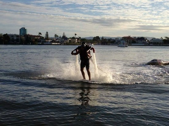 Jetpack Flyboard Adventures: My friend Josh comes in for a landing