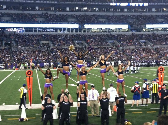 M&T Bank Stadium: There are 4 groups of cheerleaders.  Two dance and two are fliers.