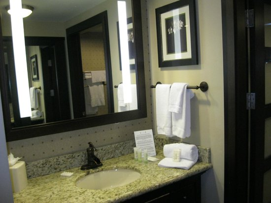 StayBridge Suites DFW Airport North : Good bathrom vanity with shower inside