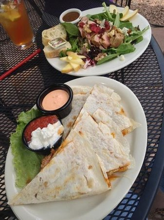 Twisted Cork Cafe: Steak and goat cheese quesadillas with Ahi tuna salad.