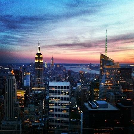 Coucher du soleil sur manhattan foto di rockefeller - Coucher du soleil new york ...