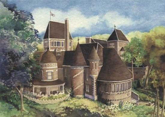 Havencrest Castle in summer as painted by a Disney artist