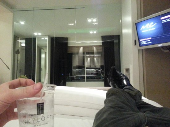 Skylofts at MGM Grand: I asked for plastic cups. I don't like dirty glasses, or troubling the butlers for that stuff