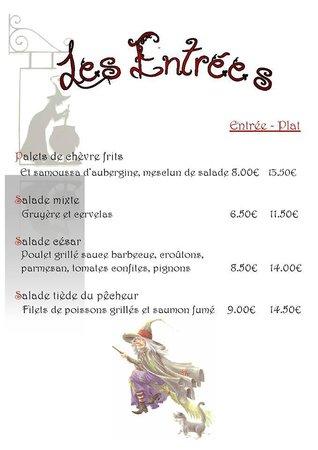 Restaurant Le Repere des Sorcieres : La carte : les entrées