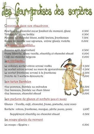 Restaurant Le Repere des Sorcieres : La carte des desserts de saison