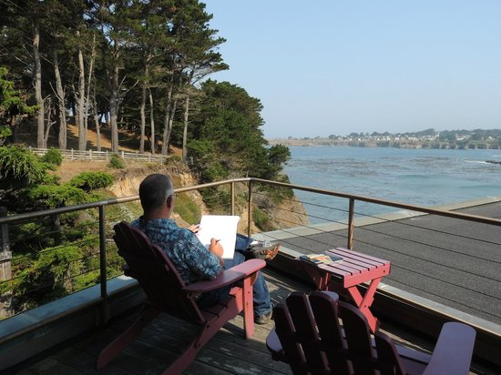 Cypress Cove at Mendocino: Patio of the Pacifica rental overlooking the Mendocino Bay.