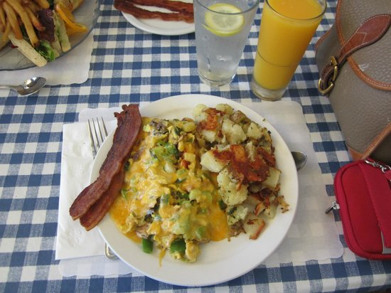 Awful Annie's: Veggie Scramble with hash browns & bacon plus orange juice
