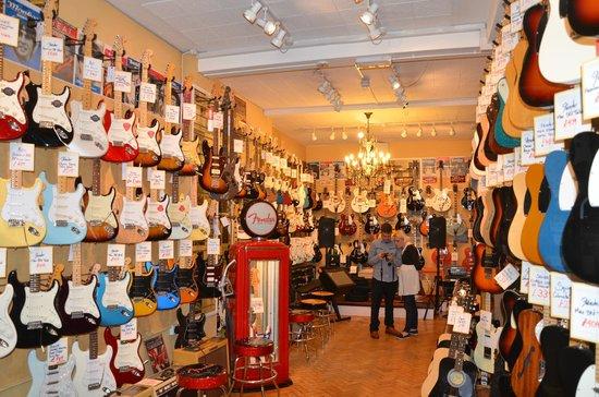 Denmark Street: Interior of one of the guitar shops in Denmark St.