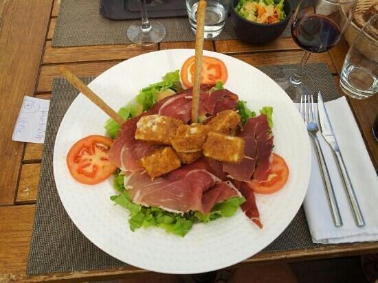 Bio & Co la Table: salade mozzarella, jambon cru