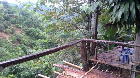 Akha Hill House: View from A2 hut balcony