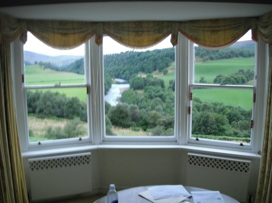 Glendalloch House: View from our room, overlooking the river and castle Drumin.