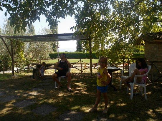 Agriturismo La Mora : giardino a nostra disposizione  fuori dall'appartamento gemelli