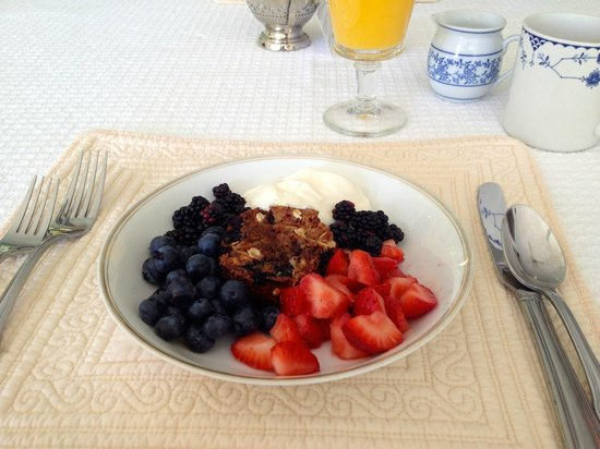 Victorian by the Sea: A blueberry oatcake with fresh berries and greek yogurt/cream