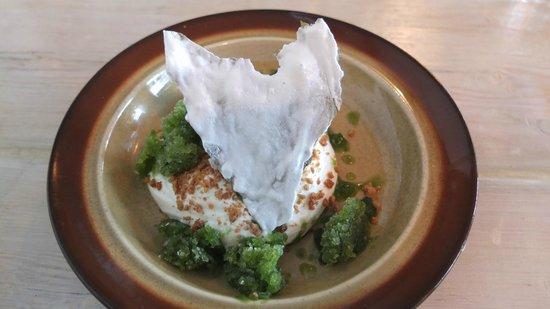 Slippurinn : Delicious skyr with tasty sorrel sorbet.  Yum!