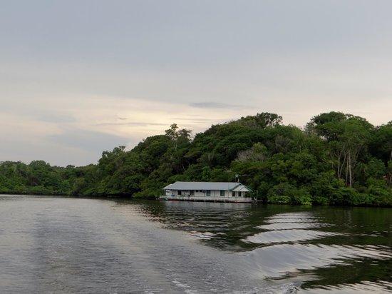 A pousada flutuante Tauari Inn Lodge, vista do lago Janauacá