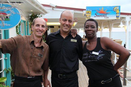 Sunset Cafe: Philipe, Jerome, and Sandra.